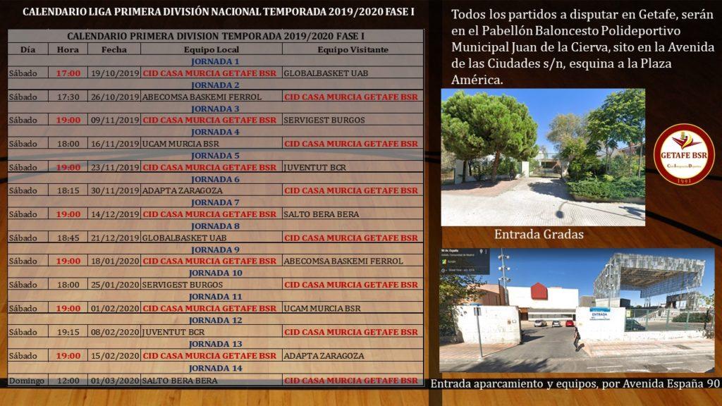 Nuestro Calendario Primera División 2019/2020 Fase I